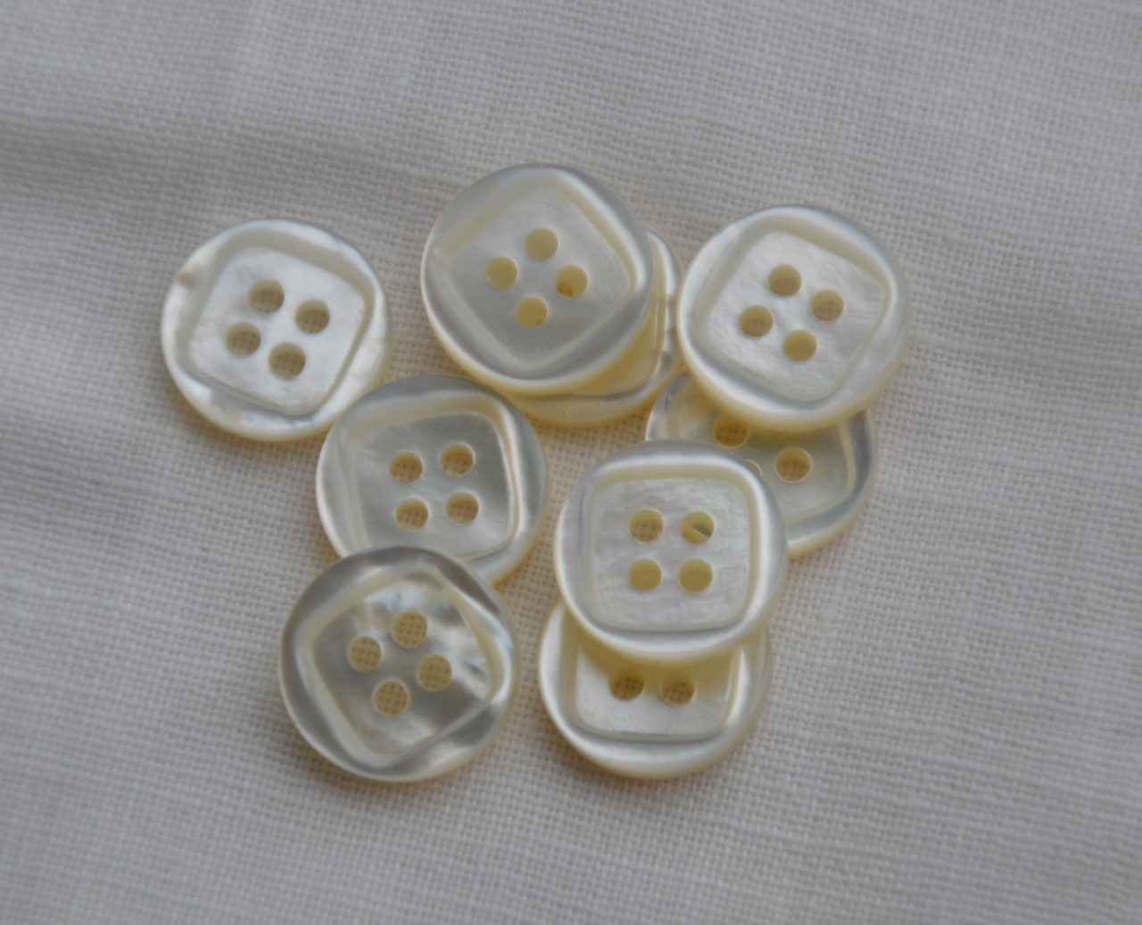 Buttons with Square Recess - 4 Hole, One Dozen