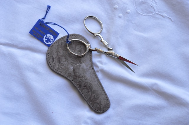 Dovo Scissor - Victorian Embroidery in Silver  Tone with Leather Case