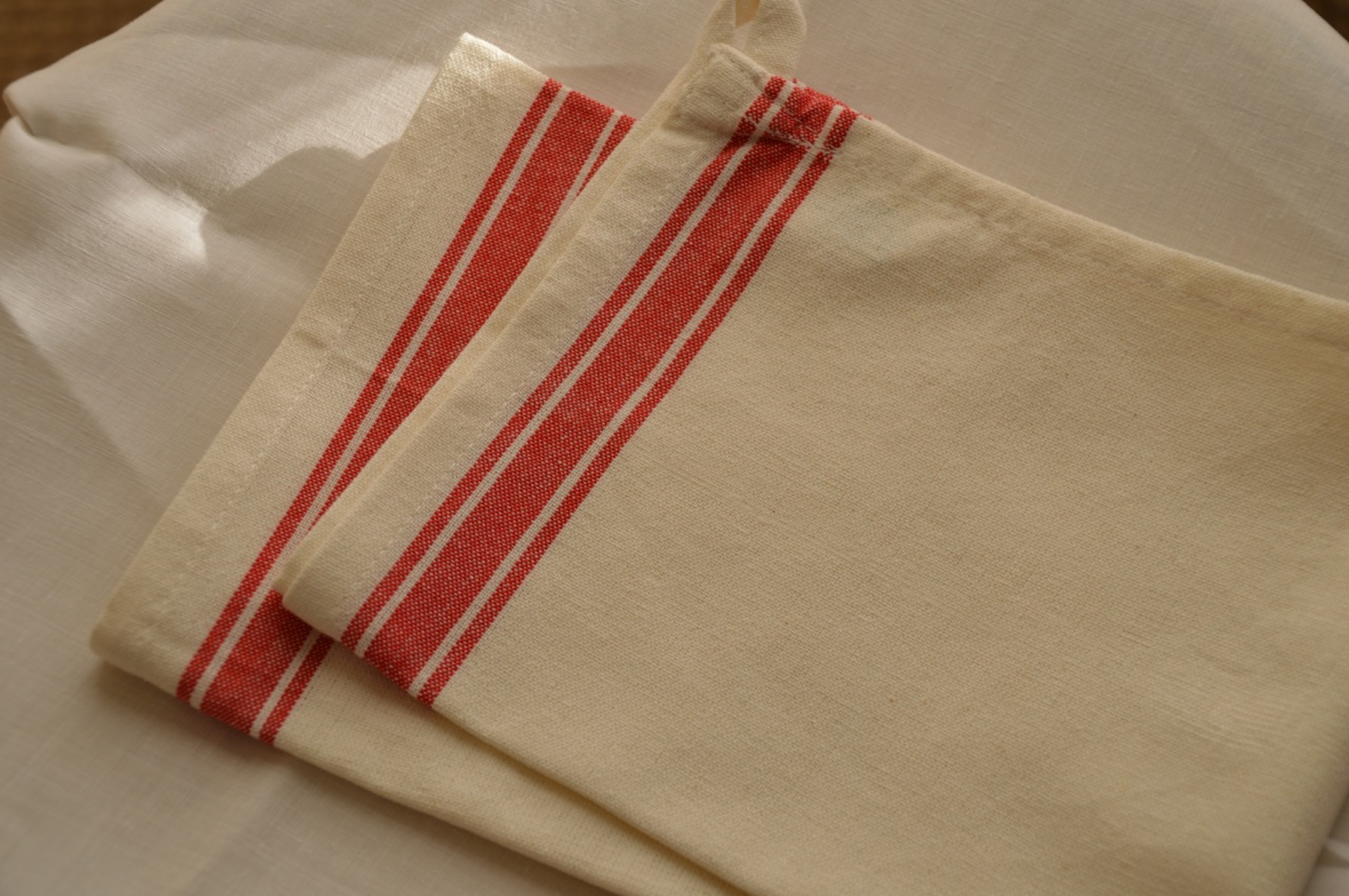 Green and Gold Stripe Kitchen Towel to Embroider